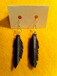 Bike Inner Tube Feather Earrings